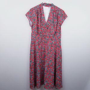Eshakti | Heart Print Surplice Crepe Midi Dress